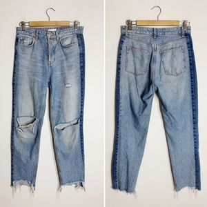 H&M blue distressed busted knee high waisted jeans
